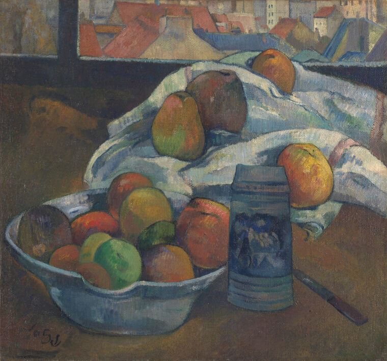 Картина Поль Гоген Bowl of Fruit and Tankard before a Window