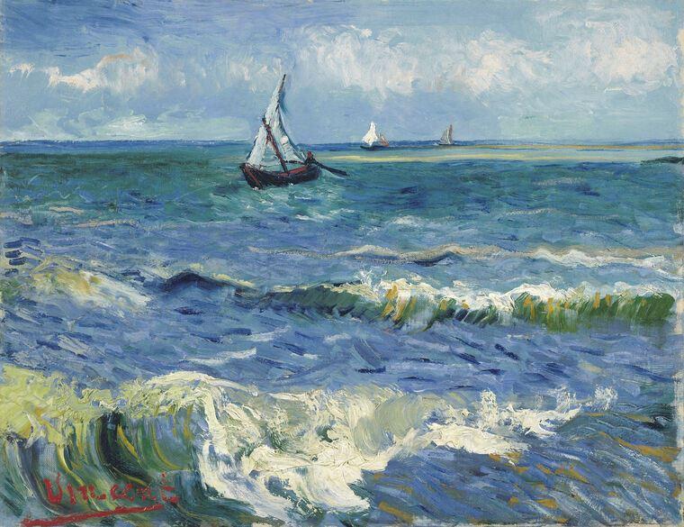 Painting Vincent Van Gogh Seascape At Saintes Maries Karandash